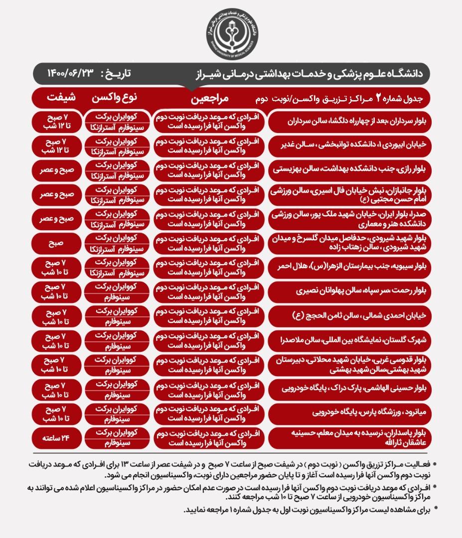 اعلام مراکز  واکسیناسیون کرونا در شیراز؛ سه شنبه ۲۳ شهریور
