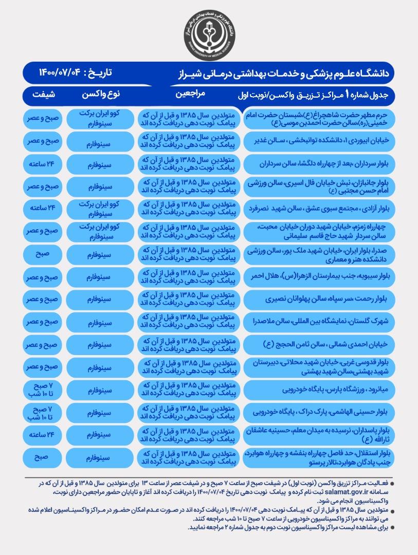 اعلام مراکز واکسیناسیون کرونا در شیراز؛ یکشنبه ۴ مهر